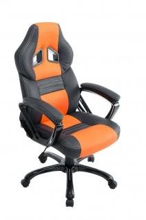 XL Bürostuhl 150 kg belastbar schwarz orange Kunstleder Chefsessel hochwertig