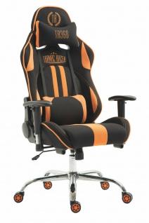 Chefsessel 150 belastbar schwarz orange Stoffbezug Bürostuhl Zocker Gamer Gaming