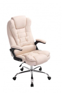 XL Chefsessel 150kg belastbar creme Bürostuhl feinstes Kunstleder hochwertig