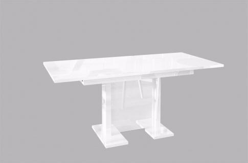 hochwertiger Säulentisch Hochglanz weiß ausziehbar Esstisch modern günstig neu