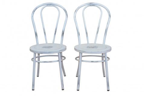 2 x Stühle antik weiß Metallstuhl used look Küche Esszimmer Wohnzimmer Stuhlset - Vorschau 3