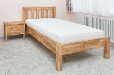 Komfortbett Überlange 100x220 cm Eiche massiv geölt Einzelbett Seniorenbett