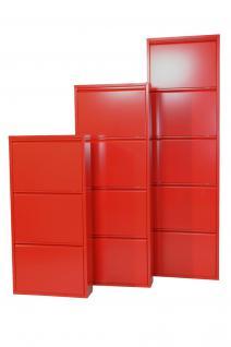 moderner Metall-Schuhschrank rot 3 Klappen Schuhkipper Schuhregal design neu