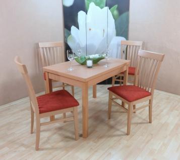 Tischgruppe Buche massiv natur terracotta Essgruppe 4 x Stühle Esstisch Holz