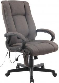 XL Bürostuhl Massagefunktion 140 belastbar dunkelgrau Stoff Chefsessel Drehstuhl