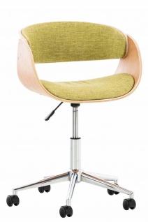 Bürostuhl Holzrahmen Stoffbezug natur grün Sitzsachale Drehstuhl modern design
