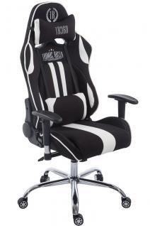 Chefsessel 150kg belastbar schwarz weiß Stoffbezug Bürostuhl Zocker Gamer Gaming