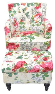 Polstersessel Blumenmotiv Hocker Relaxsessel Fernsehsessel Sessel modern design