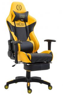 Bürostuhl gelb schwarz Kunstleder Fußablage Chefsessel Zocker Gaming belastbar