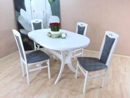 Tischgruppe Buche massivholz weiß graphit Esstisch rund Auszug Stuhlset design
