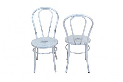 2 x Stühle antik weiß Metallstuhl used look Küche Esszimmer Wohnzimmer Stuhlset - Vorschau 2
