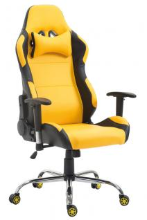 XL Bürostuhl 136 kg belastbar Kunstleder schwarz gelb Chefsessel Gamer Zocker