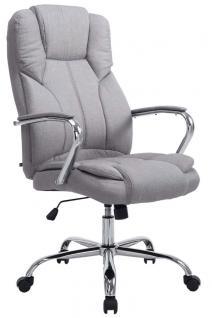 XXL Bürostuhl 210 kg belastbar für schwere Personen Chefsessel hellgrau Stoff