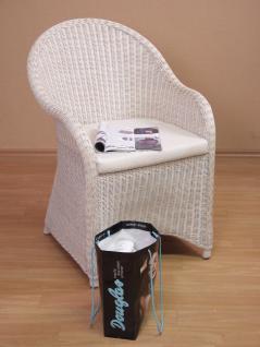 Rattansessel weiß inklusive Kissen Auflage Rattan Rattanstuhl Sessel Stuhl neu