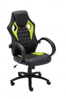 Bürostuhl 120 kg belastbar schwarz grün Kunstleder Chefsessel sportliches design