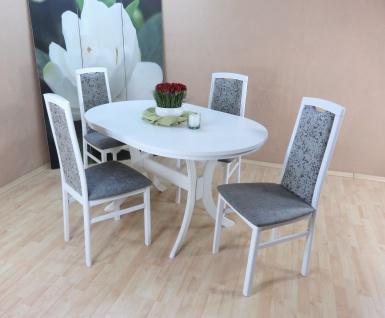 Tischgruppe weiss graphit 4 x Stühle massivholz Auszugtisch ausziehbar modern