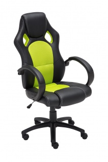 Bürostuhl schwarz grün Chefsessel Kunstleder stabil robust preiswert günstig