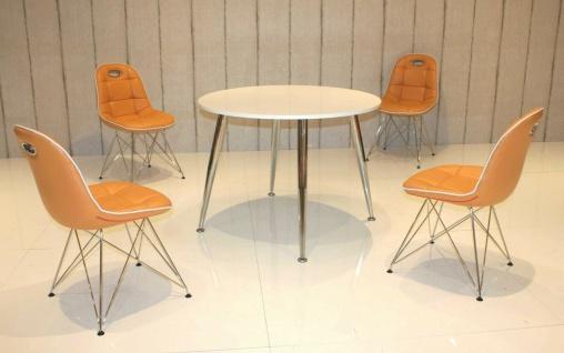 Tischgruppe mandarin weiß Essgruppe Esszimmergruppe Schalenstuhl modern design