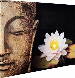 LED-Wandbild Buddha Blüte 1 Lämpchen Leinwand massivholz-Gestell Wanddeko neu