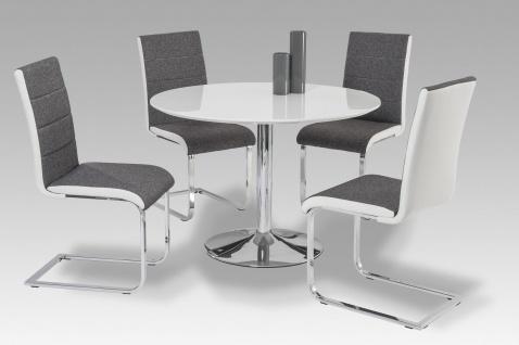 design Esstisch Hochglanz weiß rund Esszimmertisch hochwertig preiswert günstig