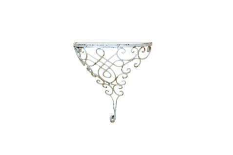 Metall Konsole antik weiß halbrund Regal Wandregal Glas used look Verzierung