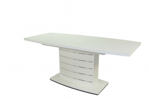 Säulentisch weiß silber Esstisch Auszugtisch ausziehbar Funktion design modern