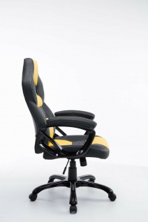 XL Bürostuhl 150 kg belastbar schwarz gelb Kunstleder Chefsessel hochwertig - Vorschau 3