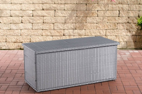 Rattan Auflagenbox 125 cm grau Gartenbox Kissenbox Gartentruhe Aufbewahrungsbox
