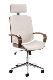 Bürostuhl 130 kg belastbar Kunstleder weiß Holzrahmen Chefsessel hochwertig