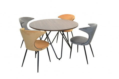 Essgruppe 5-tlg grau/ocker Esstisch rund 4x Stühle Stuhlset Tischgruppe modern