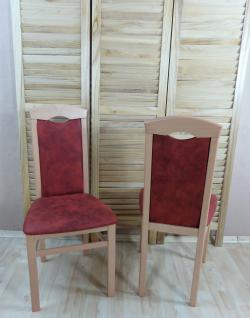 2er Set Esszimmerstühle massivholz Lederoptik natur terracotta vintage Stuhlset