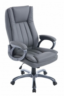 Chefsessel Kunstleder grau Drehstuhl Computerstuhl XL Schreibtischstuhl NEU