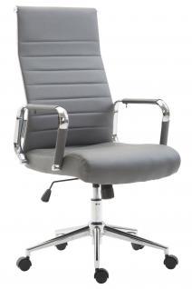 Chefsessel Kunstleder grau Bürostuhl modern design hochwertig geschwungen neu