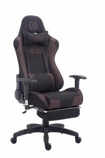 Chefsessel 150kg belastbar schwarz braun Stoff Bürostuhl Fußablage Zocker Gamer