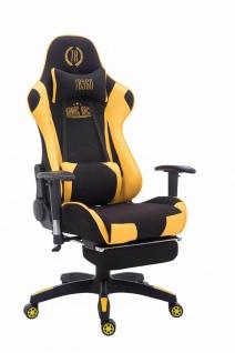 Chefsessel schwarz gelb Stoffbezug Bürostuhl Kopfstütze Fußstütze Zocker Gamer