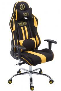 Chefsessel 150kg belastbar schwarz gelb Stoffbezug Bürostuhl Zocker Gamer Gaming