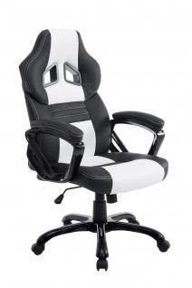 XL Bürostuhl 180 kg belastbar schwarz weiß Kunstleder Chefsessel hochwertig