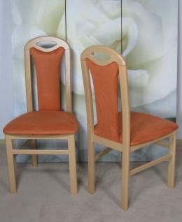 2 x Stuhl Esszimmer 2er Set buche massiv natur terracotta stühle modern design