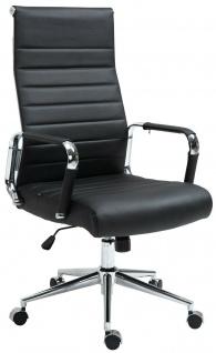Bürostuhl 136 kg belastbar schwarz / chrom Echtleder Chefsessel Drehstuhl stabil