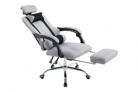 Chefsessel grau Kopfstütze Fußablage design Bürostuhl modern Zockersessel Gamer