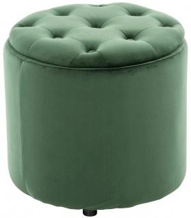 Sitzhocker Samt grün Polsterhocker mit Stauraum Fußhocker rund modern design