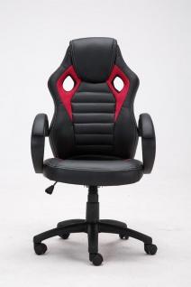 Bürostuhl 120 kg belastbar schwarz rot Kunstleder Chefsessel sportliches design - Vorschau 2