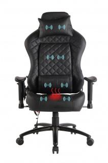 Chefsessel schwarz Kunstleder Bürostuhl Wärme/Massage Gaming Gamer Zockersessel
