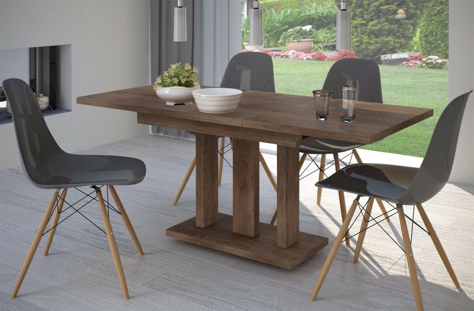 Säulentisch Nußbaum Esstisch Ausziehbar Holz Auszugtisch Modern Design  Günstig