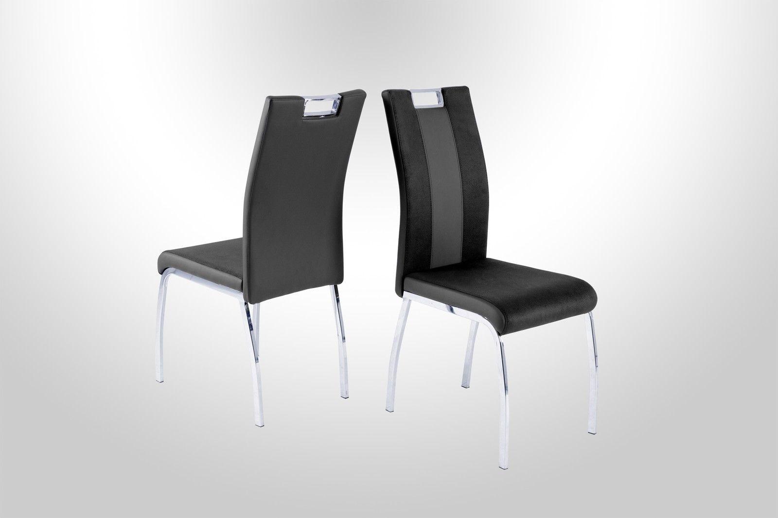 Amüsant Stühle Modern Ideen Von 4 X Stühle Schwarz Grau Kufe Chrom