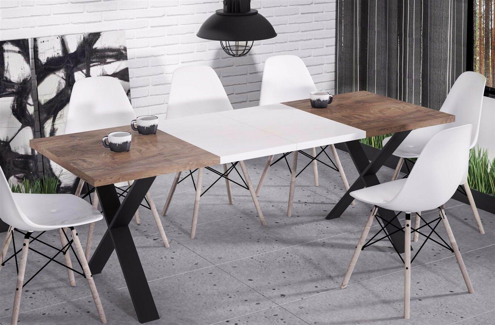 hochwertiger Esstisch 130-170 ausziehbar nussbaum Küche Esszimmer Metall  modern