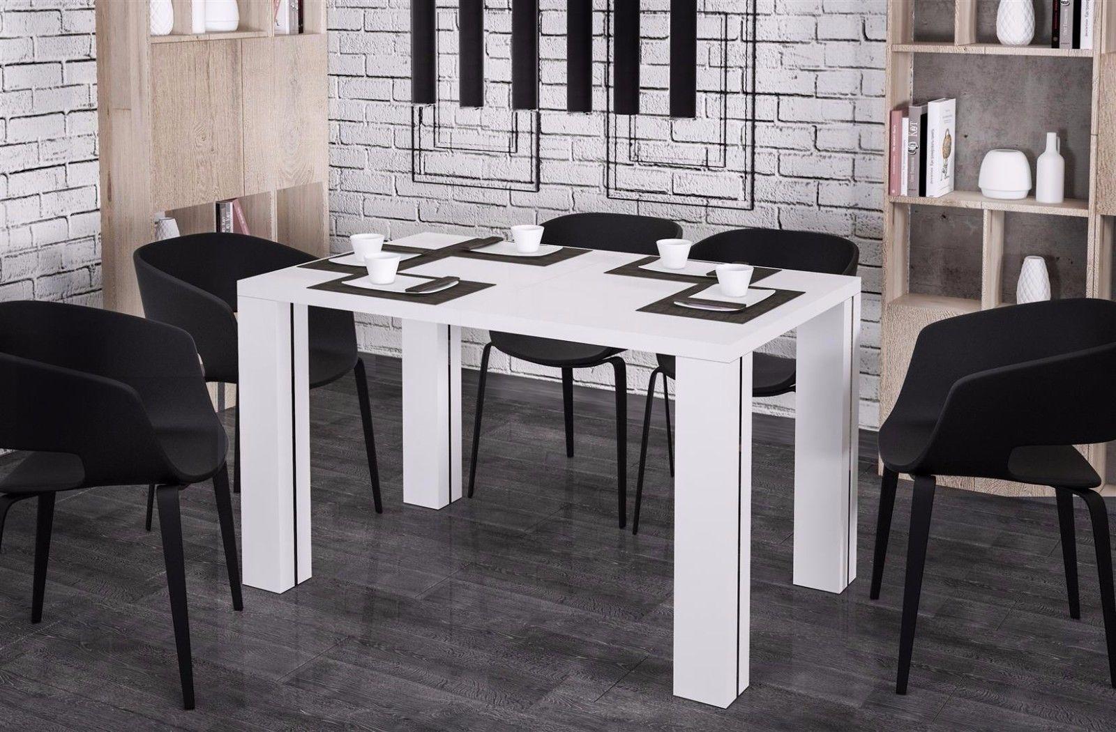 Hochwertiger Esstisch 130 265 Cm Ausziehbar Hochglanz Weiß Esszimmertisch  Design