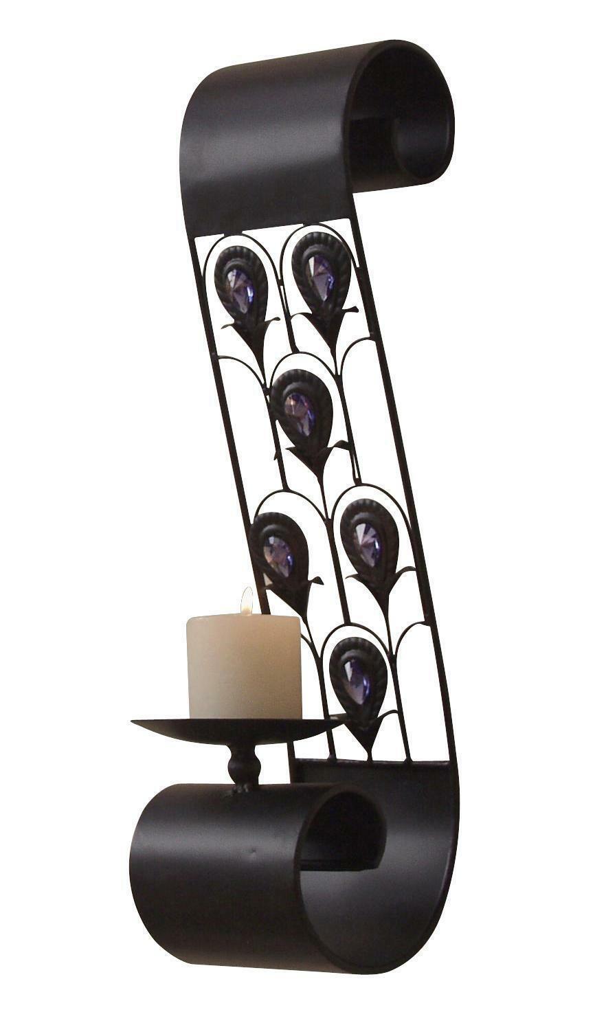 Wandkerzenhalter schwarz 2er-Set Kerzenhalter Wandleuchter Teelichthalter antik
