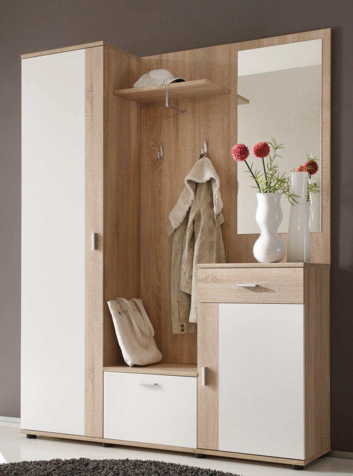Moderne Wandgarderobe Weiß.Moderne Wandgarderobe 5 Teilig Sonoma Weiß Dekor Garderobe Flurgarderobe Design Yatego Com