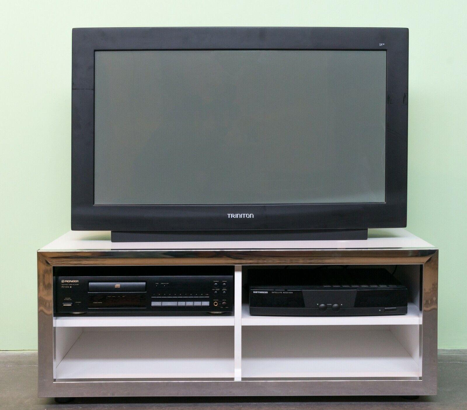 TV Phonowagen Hifi-Rack mit Rollen Chrom//Messing Regal Fernsehtisch Rollbar